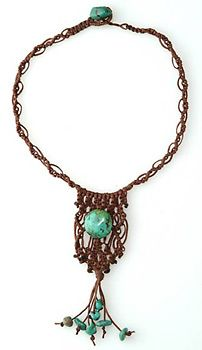 handcrafted macrame turquoise necklace