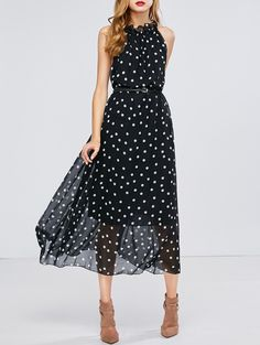 Sheer Polka Dot Slip Chiffon Swing Dress in Black | Sammydress.com