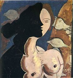 Figure double with marine background, 1942, Georges Braque Medium: oil, canvas