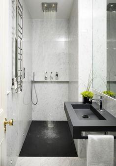 Lose the Bathtub Modern Small Bathrooms, Modern Bathroom Design, Bathroom Interior, Bathroom Designs, Small Narrow Bathroom, Bathtubs For Small Bathrooms, Parisian Bathroom, Modern Sink, Country Bathrooms