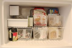 simply organized: Making The Most of Small Spaces. Use in extra fridge/freezer Freezer Organization, Organizing Hacks, Kitchen Organisation, Small Space Organization, Storage Hacks, Home Organization, Storage Ideas, Hidden Storage, Storage Solutions