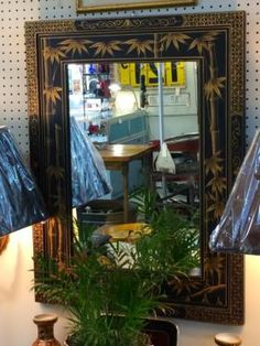 """Black Bamboo Motif Mirror   34"""" High x 24"""" Wide   $125  Eclectic Treasures Booth #8279  Lula B's  1010 N. Riverfront Blvd. Dallas, TX 75207  Like us on Facebook: http://www.facebook.com/p"""