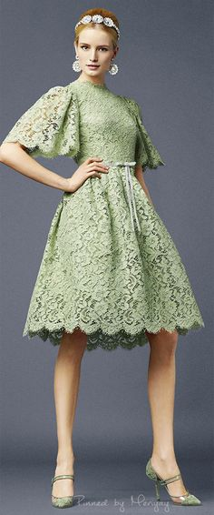Pastel green lace cocktail Dolce & Gabbana.