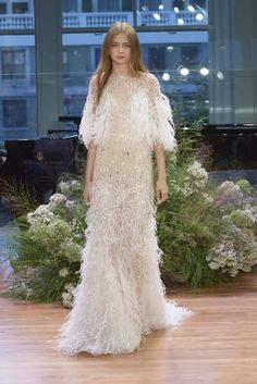 23 Monique Lhuillier Fall 2017 Wedding Dresses - See the Monique Lhuillier Fall 2017 Bridal Collection Wedding Dress With Feathers, Pretty Wedding Dresses, Bridal Dresses, Ruffled Feathers, Indian Bridal Fashion, Indian Bridal Wear, Bridal Fashion Week, Indian Wear, 2017 Bridal