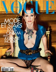 Film and the covers of Vogue Paris: Julianne Moore on the May 2008 cover of Vogue Paris