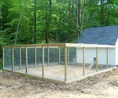 "nice chicken coop- all wire enclosed to be predator proof. Wire roof to keep the hawks out. Wire underground all around to keep ""diggers"" from going under. Also, provide a solid roof on part of the shelter for sun, rain, & winter snow protection #chickencooptips #ChickenCoopPlans #DIYchickencoopplans"