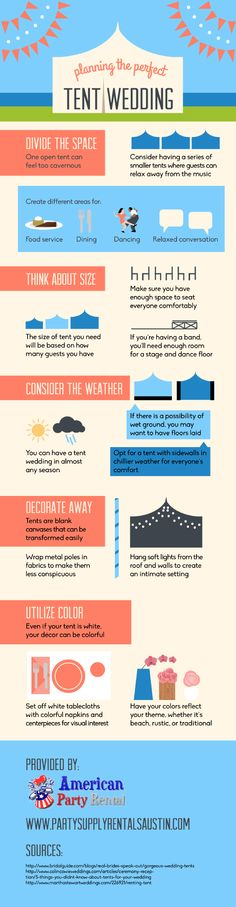You can have an outdoor wedding in almost any season thanks to tent rentals! Click over to this infographic from a wedding rental company in Austin for tips on choosing the perfect tents for your special day.