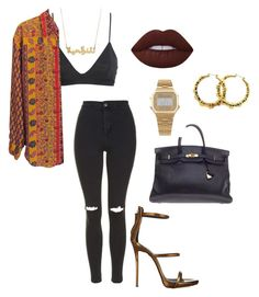 """Untitled #85"" by cocodshay on Polyvore featuring H&M, Topshop, Giuseppe Zanotti, Hermès, Lime Crime, American Apparel and Fergie"