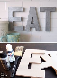 Anthro Inspired Faux Zinc Letters Click Pic for 28 DIY Kitchen Decorating Ideas on a Budget DIY Home Decorating on a Budget Budgeting, Budget Tips Diy Home Decor Rustic, Easy Home Decor, Cheap Home Decor, Farmhouse Decor, Modern Farmhouse, Modern Decor, Farmhouse Shutters, Inexpensive Home Decor, Inexpensive Furniture