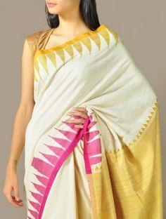 Mikado-Pink Tussar & Organic Khadi-Cotton Kumbha Saree