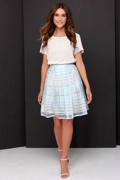 Chic Midi Skirt - Cream and Blue Skirt - Lace Skirt - $79.00