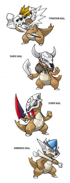These are MAROWAK variations, thinking on what would happen if marowak used different pokemon skulls instead of the one he always carries. Oc Pokemon, Pokemon Fusion Art, Pokemon Comics, Pokemon Memes, Pokemon Fan Art, Pokemon Cards, Creepy Pokemon, Pokemon Pocket, Pikachu