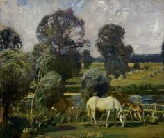 By the River: A Mare and a Foal, by A. J. Munnings, ca. 1912
