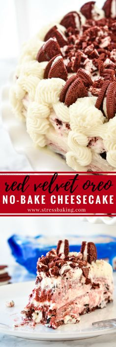 Red Velvet Oreo No-Bake Cheesecake: Supremely rich and creamy cheesecake filled with red velvet and Oreo flavors atop a Red Velvet Oreo crust. No baking required! | stressbaking.com #redvelvet #cheesecake #oreo #nobake #dessert #valentinesday