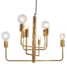 Taklampa i metall - mässing, koppar eller krom. En snygg och stilfull lampa med 8 st lamphållare. Design Katarine Dahl. Sockel: 4xE14, 4xE27. Ljuskällor ingår ej.