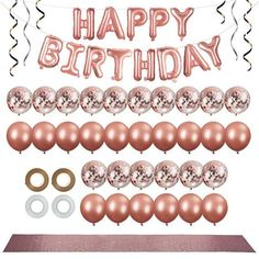 38pcs Rose Gold Party Decorations Kit 12 inch Balloons Confetti Balloons Happy Birthday Banner Table Runner Ribbon Rose Gold Party Supplies