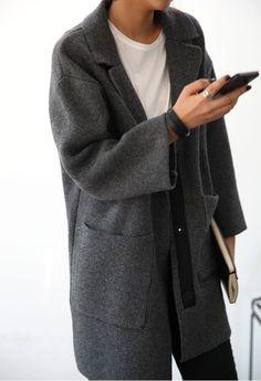 grey coat & a classic tee #style #fashion