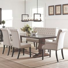 Shop for French Baroque Designe Dining Set with Rolled Button Tufted Chairs and Bench. Get free delivery On EVERYTHING* Overstock - Your Online Furniture Shop! Dinning Table With Bench, Wooden Dining Set, Dinning Room Tables, Dining Room Sets, Dining Room Design, High Back Dining Bench, Ikea Dining, Kitchen Tables, Patio Dining