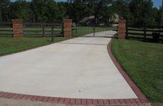 Plain Concrete Driveway with Brick Borders