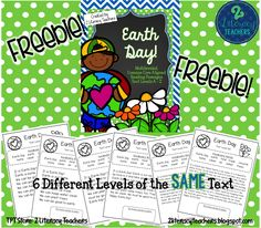 FREEBIE!! Leveled reading passages and activities all about Earth Day!! There are 6 levels of one passage so all your students can gain the same information at their level! Also included are vocabulary practice and activities. Great for guided reading groups, whole class or small group!