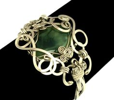 Wire Wrap Braided Bracelet with Lime Green Prehnite by Hyppiechic, $58.00