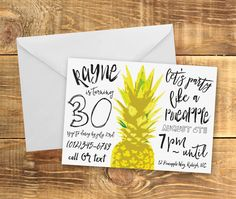Party Like A Pineapple Invitation  Pineapple Party by kandsdotco