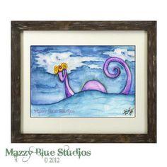 Sea Monster Creature Watercolor Painting Art by MazzyBlueStudios, $10.00
