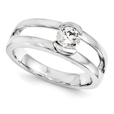 14K White Gold Diamond Engagement Ring, half bezel set. What a neat and different engagement ring concept.