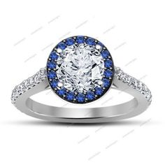 Round Cut Sim Diamond & Sapphire White Gp 925 Silver Halo Style Wedding Ring #SolitaiteWithAccents