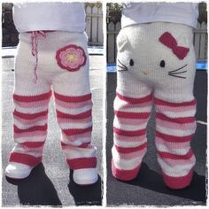 Etsy seller Mazter has created a knitting pattern for these teeth-achingly cute Hello Kitty toddler trousers and is accepting pre-sales. Knitting pattern - Kitty pants (via Craft) Crochet Pants, Knit Pants, Knit Crochet, Free Crochet, Knit Dress, Toddler Pants, Baby Pants, Baby Overalls, Knitting For Kids