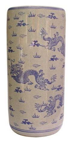 18h. Oriental Blue and White Dragon Porcelain Umbrella Stand