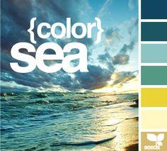 dark sky blue, dark bluish-green, powder blue, dark seafoam, sunshine yellow, ivory and light khaki