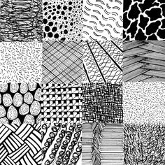 Studio Project 2 - Balance, Scale, Texture. | Objective: Create 16 different squares with various textures using balance and scale, as well as varying values from dark to light. Material used: Micron Pens in different sizes.