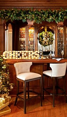 Evoking a Broadway or Vegas marquee, these vintage-style CHEERS letters cast white LED light against a champagne matte finish.