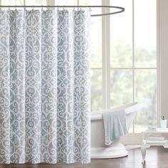 Madison Park MPP70-047 Aqua Pure Elena Fabric Scroll Shower Curtain NEW