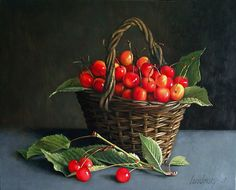this would be lovely framed Cherry Farm, Image Halloween, Image Nature Fleurs, Vegetable Painting, Catherine Klein, Fruit Picture, Cherries Jubilee, Still Life Fruit, Fruit Painting
