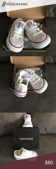 Custom pearl and rhinestone Converse I make custom shoes and more. Custom made toddler size 6 Converse bedazzled with pearls and rhinestones. These are ready to ship I also take custom orders. Converse Shoes Baby & Walker
