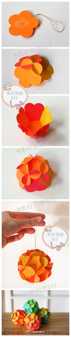立体花球DIY,直接剪下模板插插插就行了,Cool Flower Crafts , Paper Crafts for Teens , paper, craft, flower,wrap, gift, decor,blumen,basteln,bastelvorlage,tutorial diy, spring kids crafts, paper flowers,diy, bauble, ornament