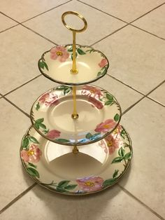A 3-tier of the Desert Rose pattern by Franciscan   SOLD