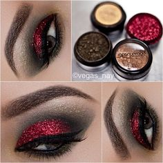 Red glitter smokey eyes.