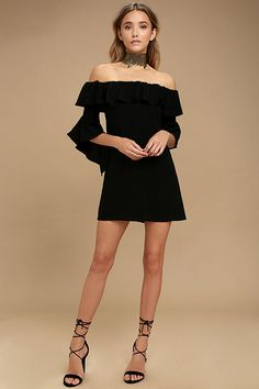 Show off your flirty style in the Showcase Your Talent Black Off-the-Shoulder Dress! Woven poly shapes an elasticized off-the-shoulder neckline, with a ruffled flounce, and three-quarter bell sleeves. Flirty shift silhouette. Hidden back zipper/clasp.