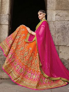 Buy Green Pure Silk Lehenga Choli with Embroidery Work Online at Best Price for Women - CCAA1881 - Saree.com