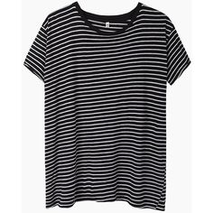 R13 Nancy Striped Boy Tee (2,490 MXN) ❤ liked on Polyvore featuring tops, t-shirts, shirts, tees, striped tee, black white striped t shirt, short sleeve t shirts, stripe t shirt and black and white striped t shirt