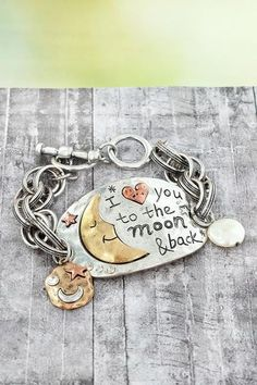 "Sweet ""I heart you to the moon & back"" #ewamboutique #southernjewelry  #southernbracelet"
