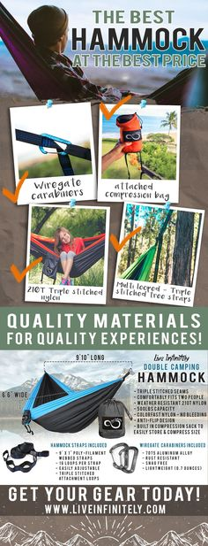 High quality hammock with all the accessories you need - half the price of the other guys! https://www.liveinfinitely.com/collections/outdoor-camping-gear/products/double-camping-hammock