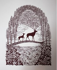 Love this silhouette of two deer.