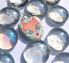 Fox Pendant Hand Painted Sea Pottery with by turquoiseeye on Etsy