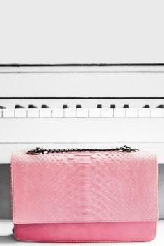 Lenny Pink Python Crossbody Bag