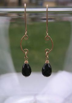 Black garnet earring Delicate gold scroll beaded teardrop earring Hammered wire jewelry Bridal earring via Etsy