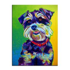 Print of Colorful Miniature Schnauzer Dog Painting by Alicia VanNoy Call. Original was acrylic on canvas. This bright, happy artwork will make a Schnauzer Art, Miniature Schnauzer, Canvas Art, Canvas Prints, Art Prints, Dog Blanket, Arte Pop, Canvas Pictures, Dog Portraits